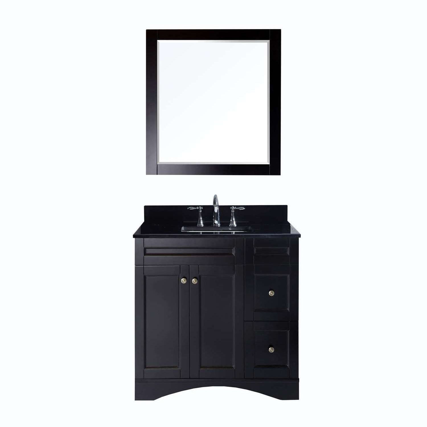 Virtu ES-32036-BGSQ-ES Elise 36 Inch Single Bathroom Vanity Set In Espresso