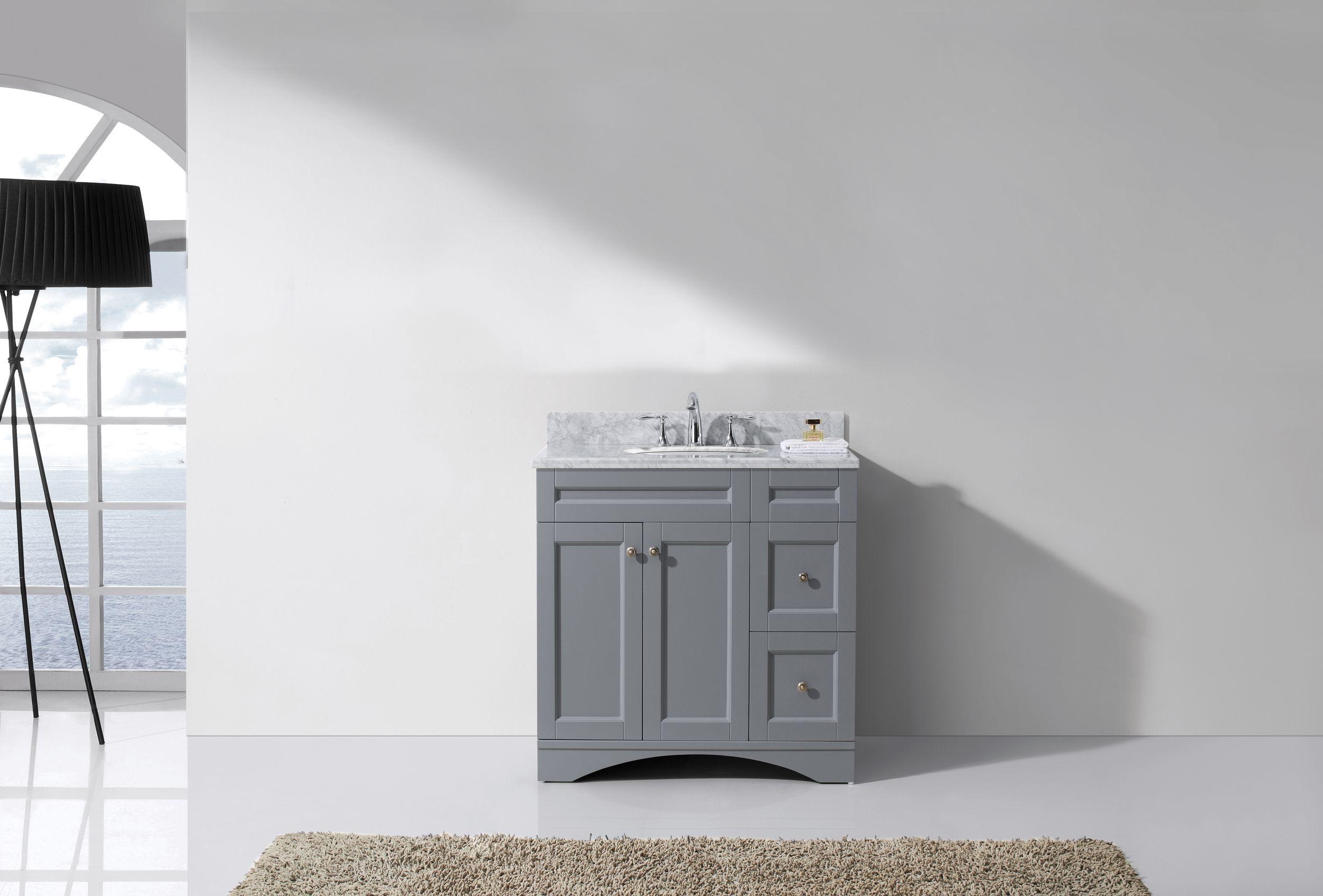 Virtu ES-32036-WMRO-GR-NM Elise 36 Inch Single Bathroom Vanity Set In Grey