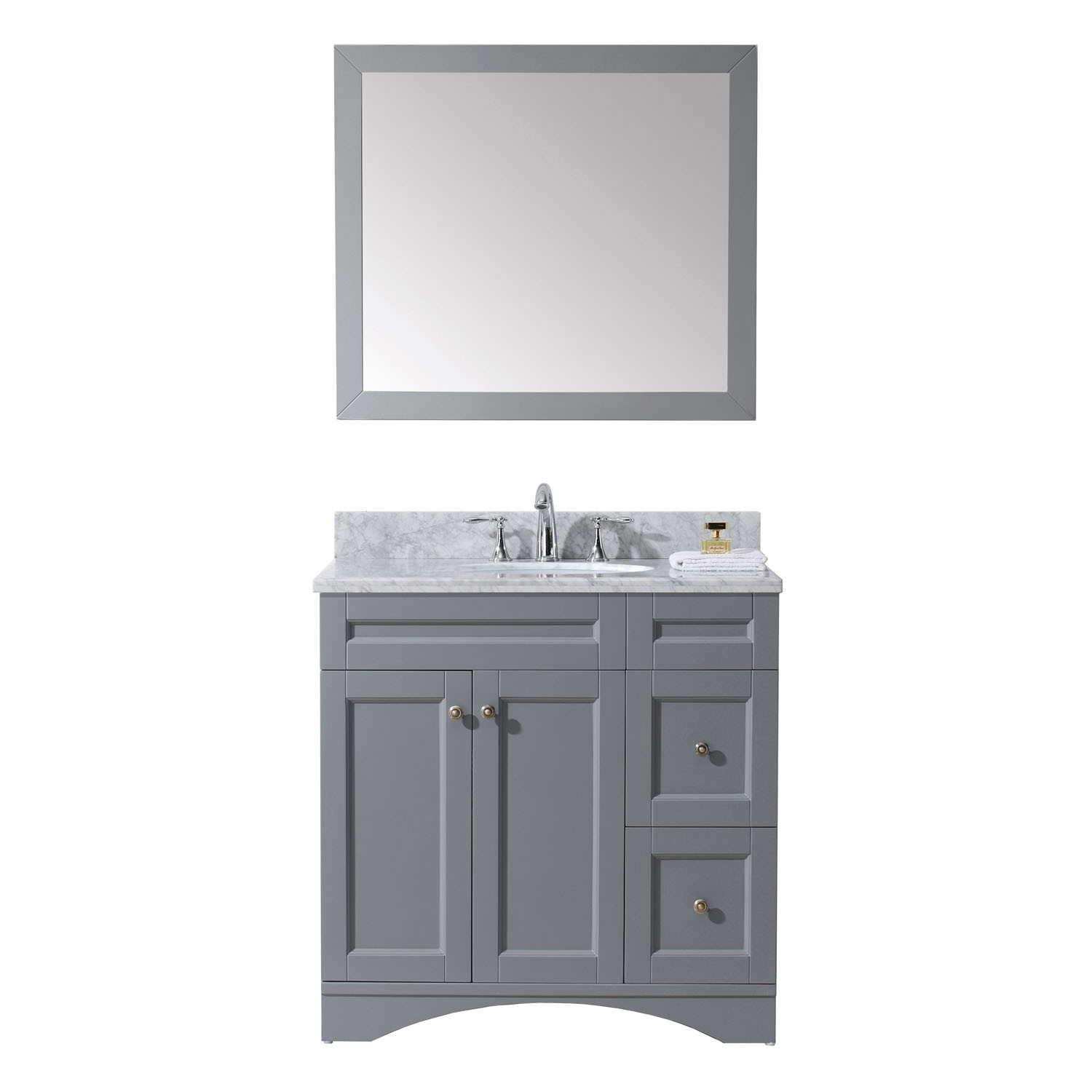 Virtu ES-32036-WMRO-GR Elise 36 Inch Single Bathroom Vanity Set In Grey