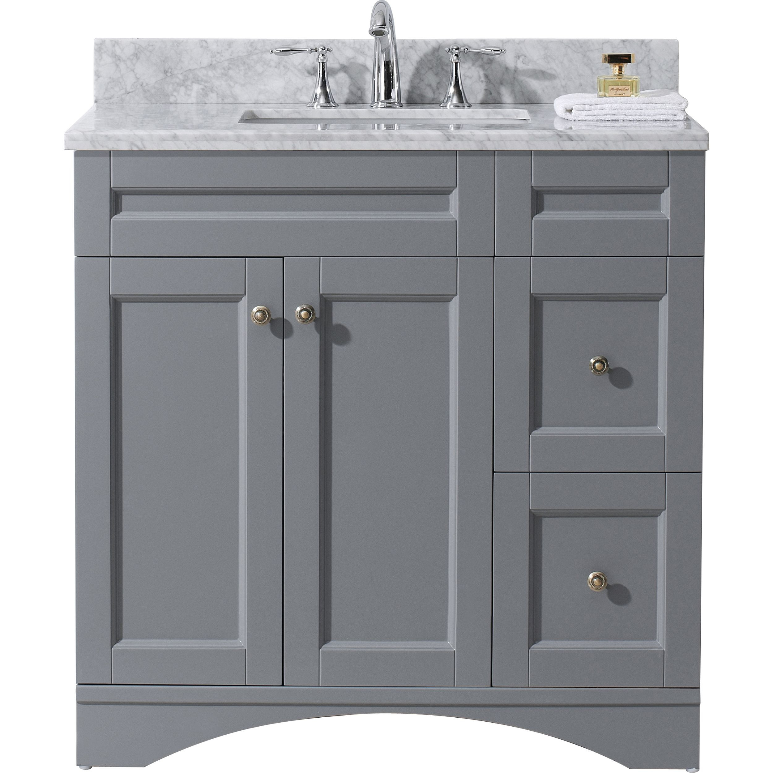 Virtu ES-32036-WMSQ-GR-NM Elise 36 Inch Single Bathroom Vanity Set In Grey