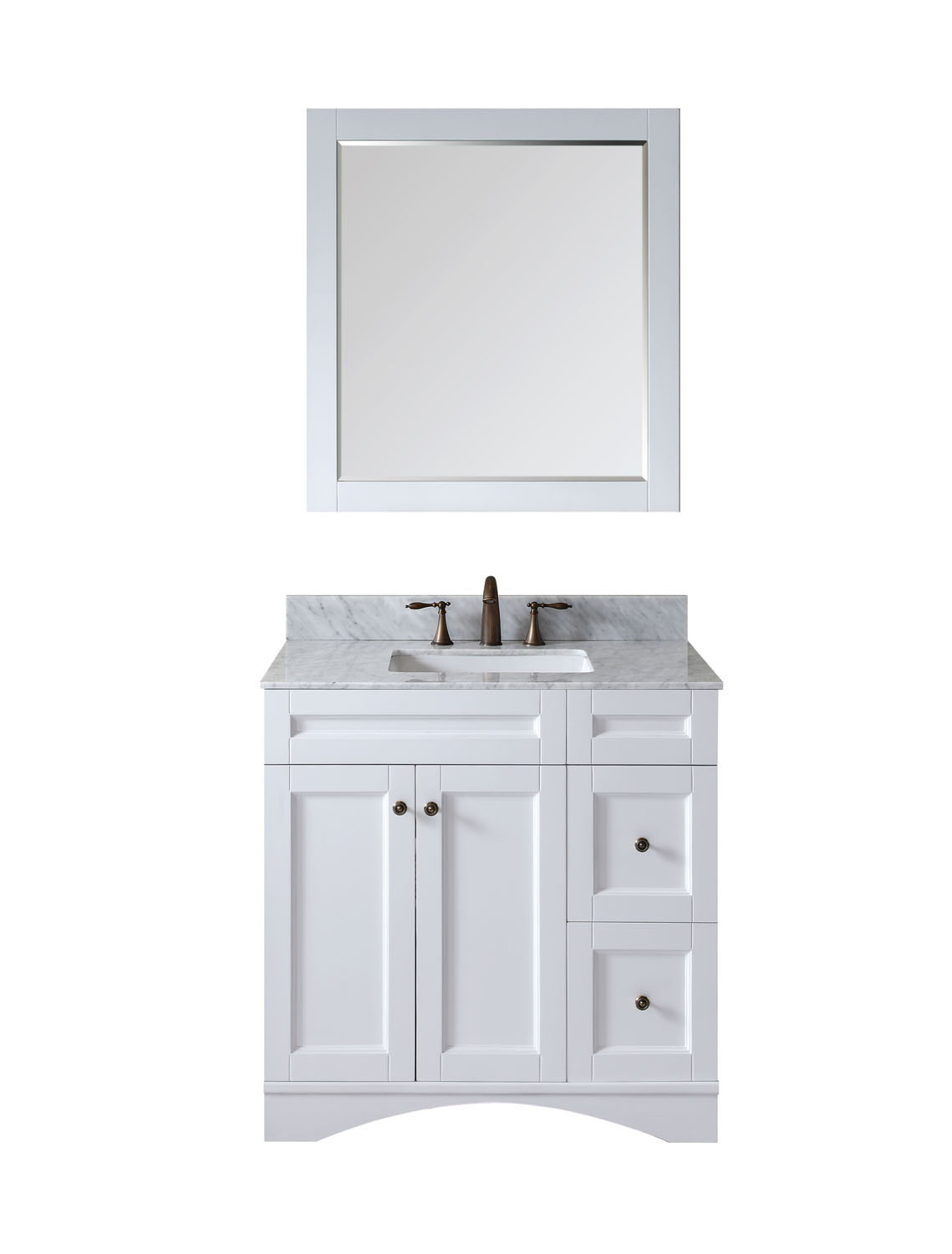 Virtu ES-32036-WMSQ-WH Elise 36 Inch Single Bathroom Vanity Set In White