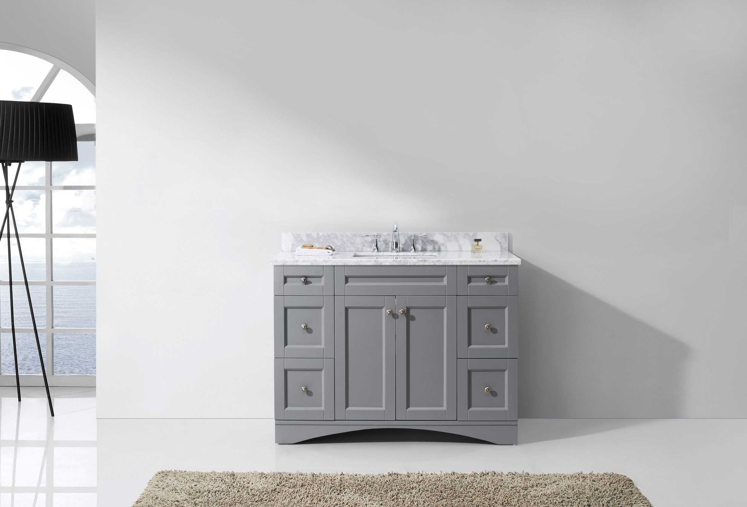 Virtu ES-32048-WMSQ-GR-NM Elise 48 Inch Single Bathroom Vanity Set In Grey