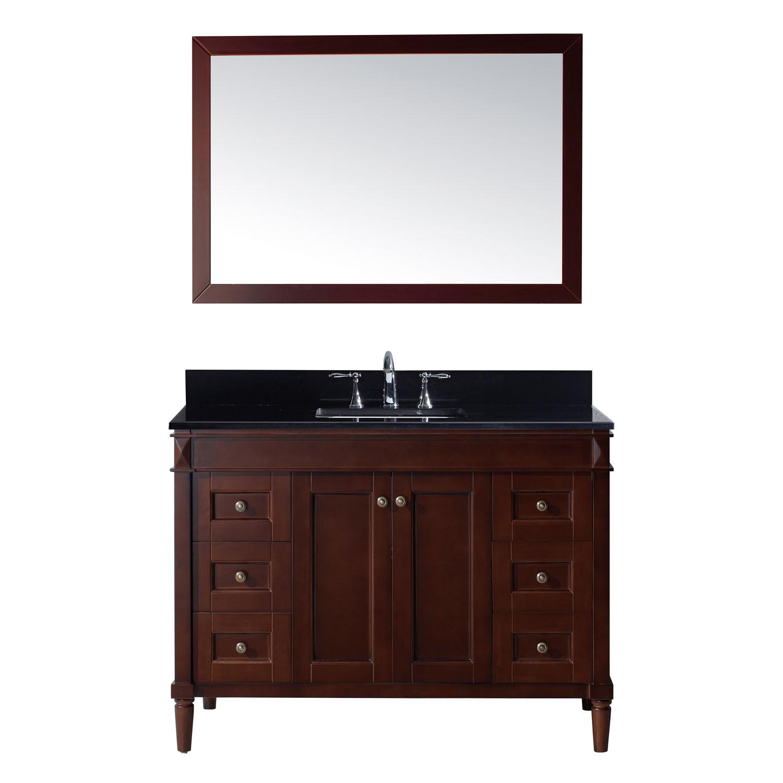Virtu ES-40048-BGSQ-CH Tiffany 48 Inch Single Bathroom Vanity Set In Cherry