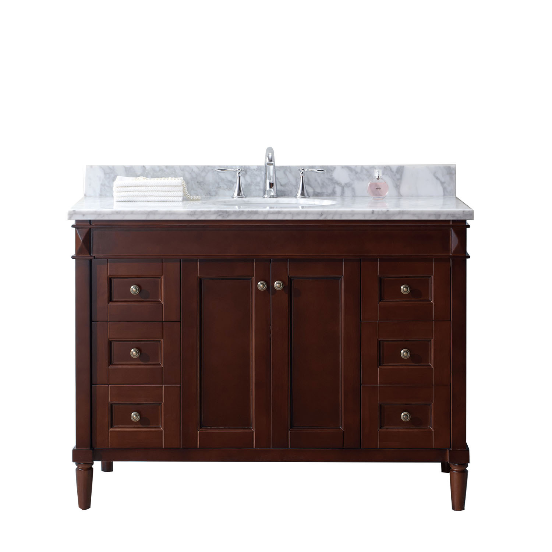 Virtu ES-40048-WMRO-CH-NM Tiffany 48 Inch Single Bathroom Vanity Set In Cherry