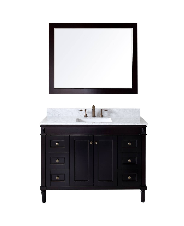 Virtu ES-40048-WMSQ-ES Tiffany 48 Inch Single Bathroom Vanity Set In Espresso