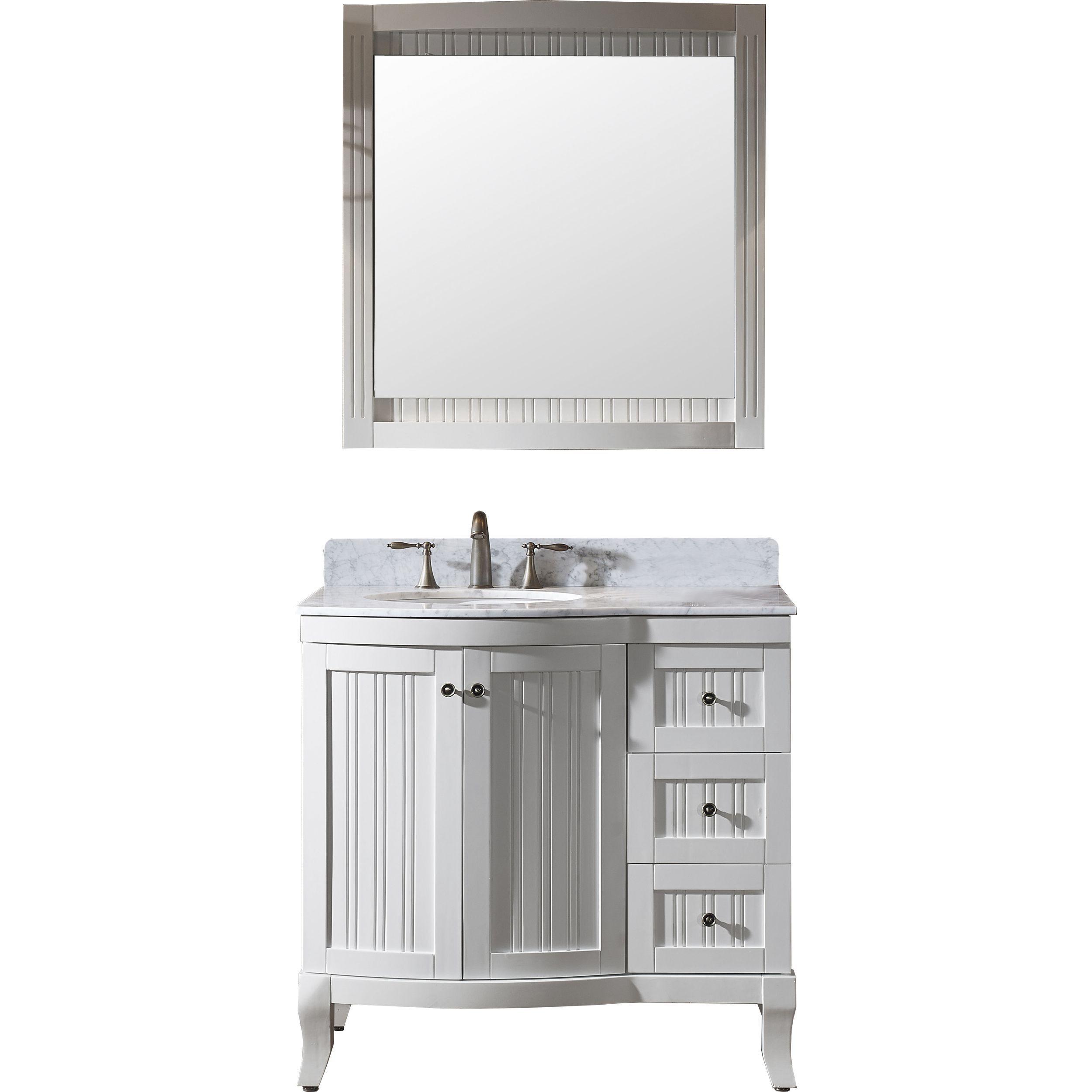 Virtu ES-52036-WMRO-WH Khaleesi 36 Inch Single Bathroom Vanity Set In White