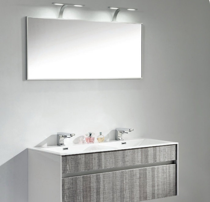 Eviva EVVN12-48ASH Ashy Wall Mount Bathroom Vanity High Gloss Ash Gray with White Integrated Sink