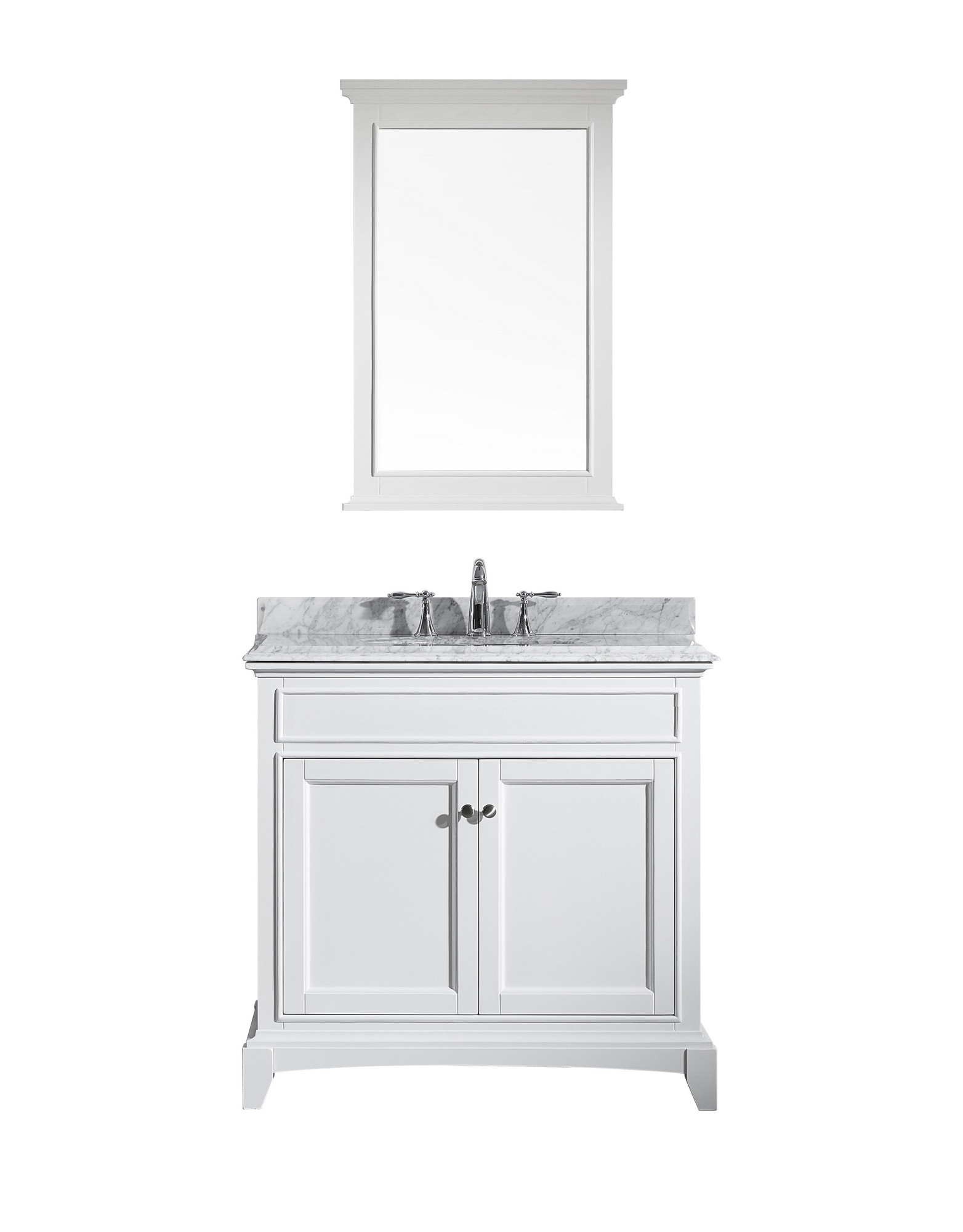 Eviva EVVN709-36WH Elite Stamford® White Wood Bath Vanity with Double OG White Carrera Marble Top