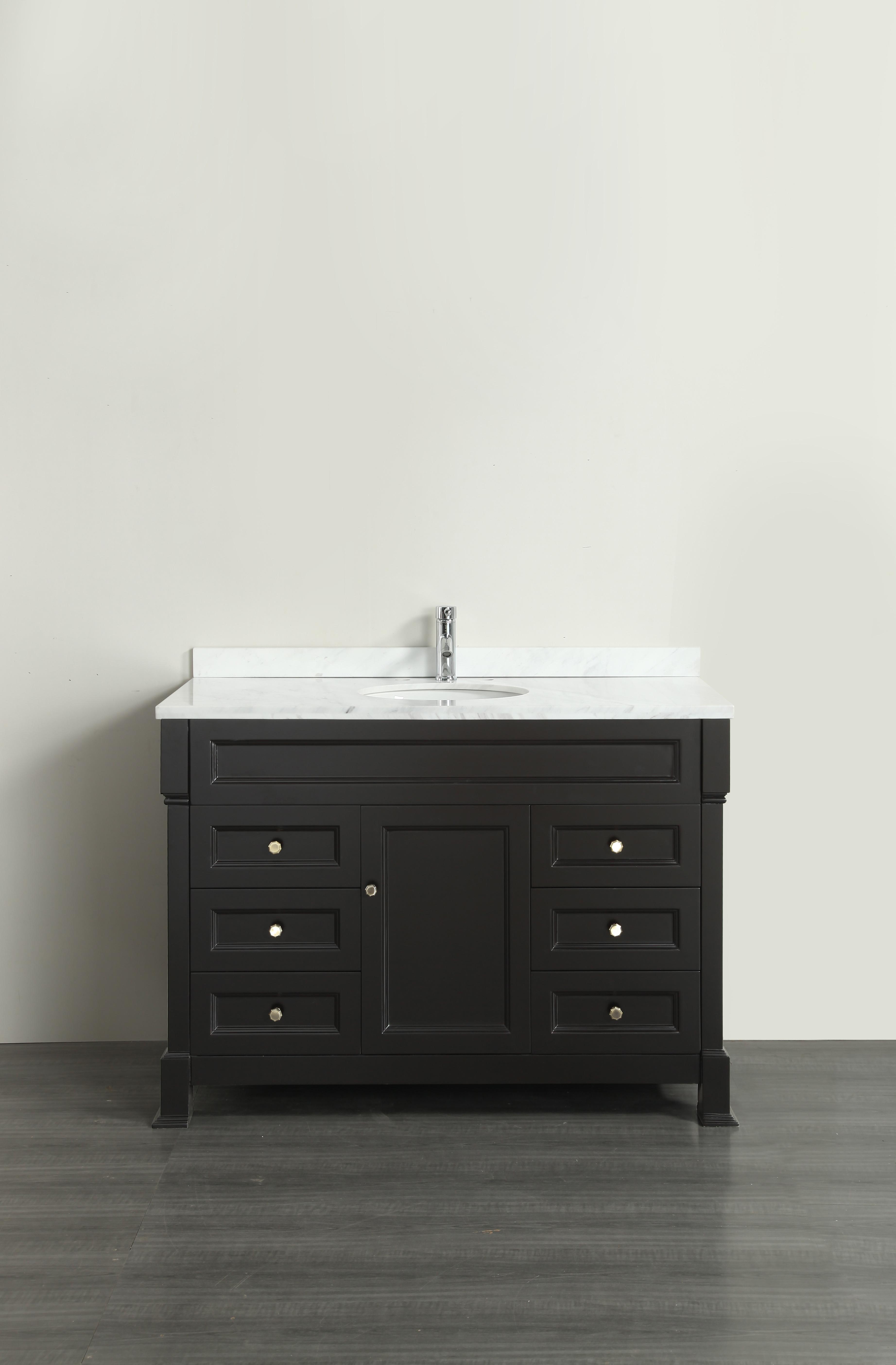 Eviva EVVN78-48ES Tim Espresso Bathroom Vanity with White Carrera Counter-top & Porcelain Sink