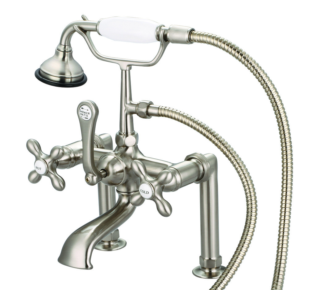 Water Creation F6-0006-02-AX Brushed Nickel Deck Mount Bathroom Tub Faucet