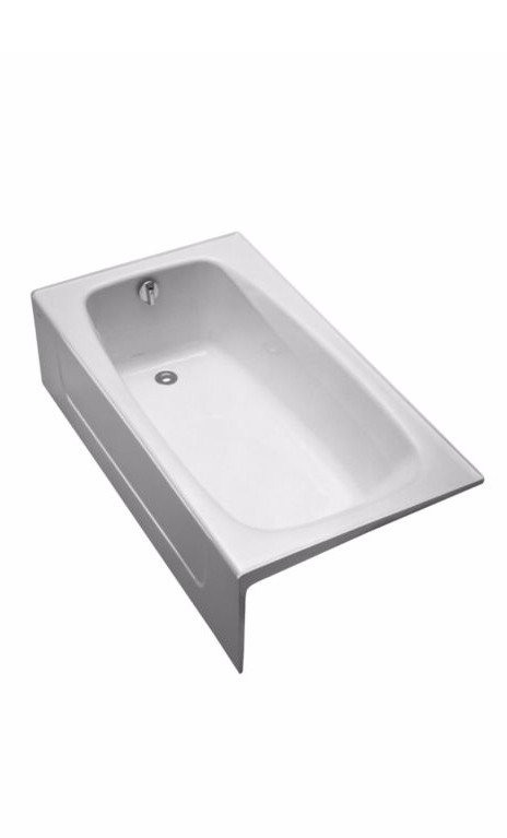 TOTO FBY1525LP Enameled Iron Drop In Soaking Bathtub With Left Drain And Apron Front