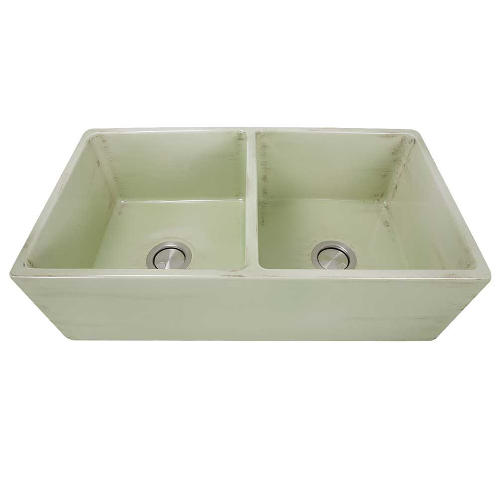Nantucket Sinks FCFS3318D-ShabbyGreen Double Bowl Farmhouse Fireclay Sink