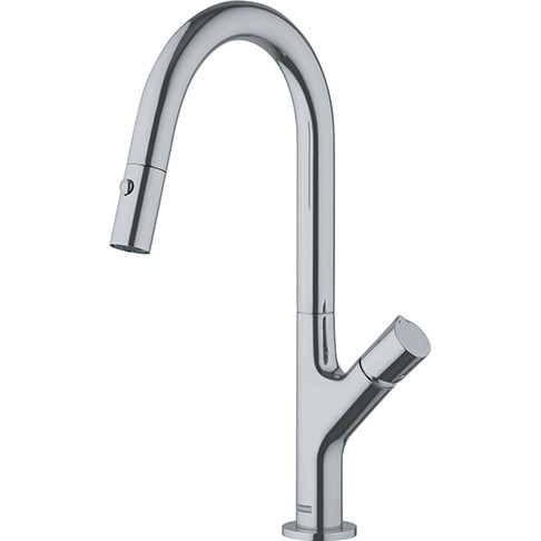 Franke FF3280 Fluence Deck Mounted Kitchen Faucet with Pull Out Spray in Satin Nickel