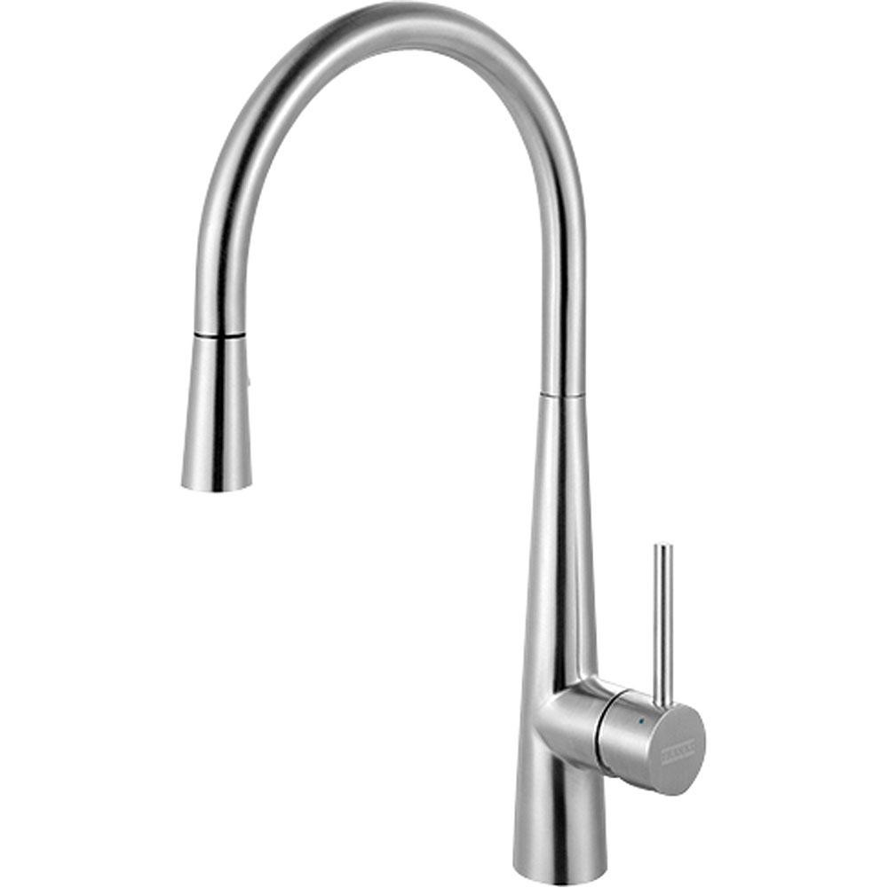 Franke FF3450 Single Hole Kitchen Faucet in Stainless Steel with Pull Down Spray