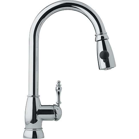 Franke FHPD100 Farmhouse Single-Handle Pull-Down Spray Kitchen Faucet in Chrome