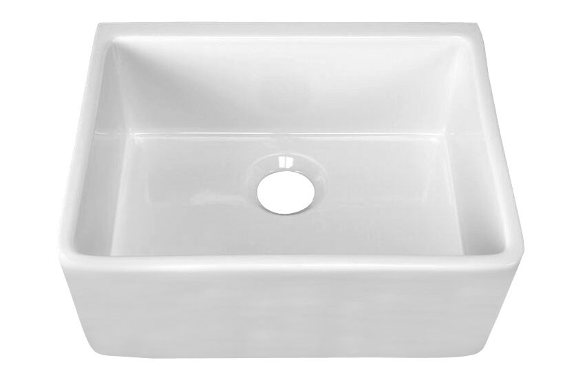 White Barclay FS24-WH 24'' Single Bowl Fireclay Apron Sink