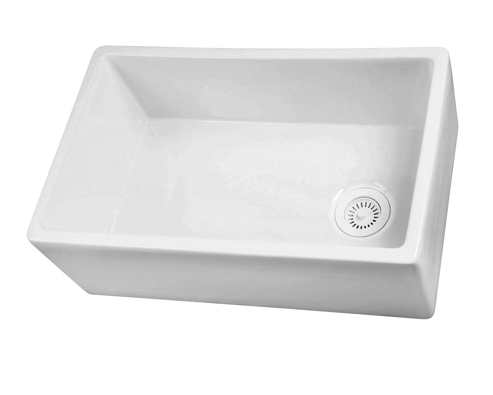 White Barclay FS30 30'' Single Bowl Fireclay Apron Sink