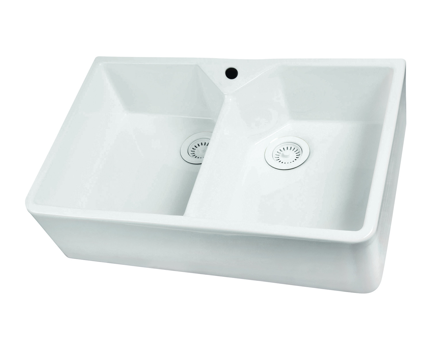 White Barclay FS31 31'' Double Bowl Fireclay Apron Sink