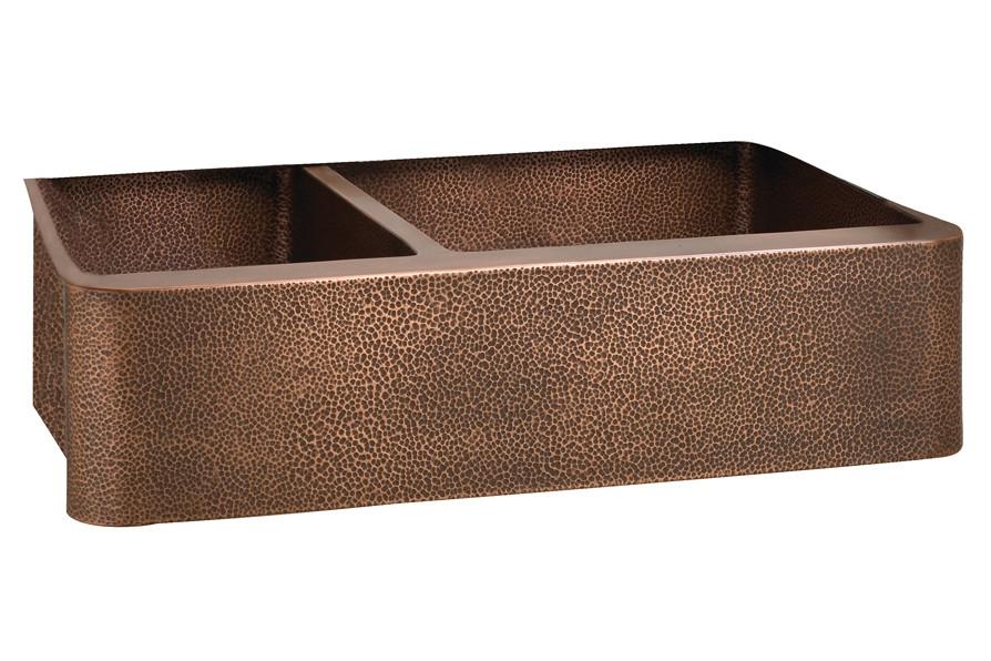 """Barclay FSCDB3552-AC Perla 33"""" Hammered Offset 2 Bowl Farmer Copper Sink"""