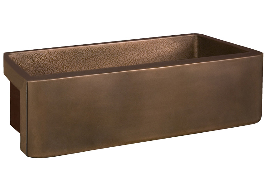 "Barclay FSCSB3136-SAC Gatsby 34"" Copper Sink with Hammered Front & Interior"