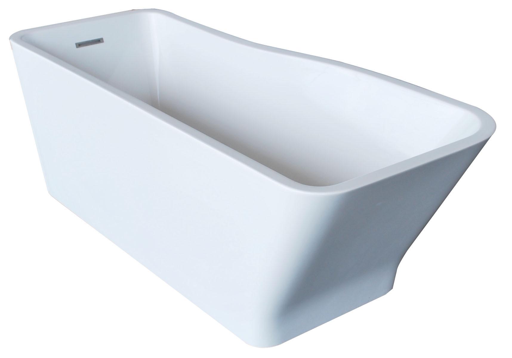 Anzzi FT-AZ004 Salva Reversible Drain Freestanding Bathtub In Glossy White