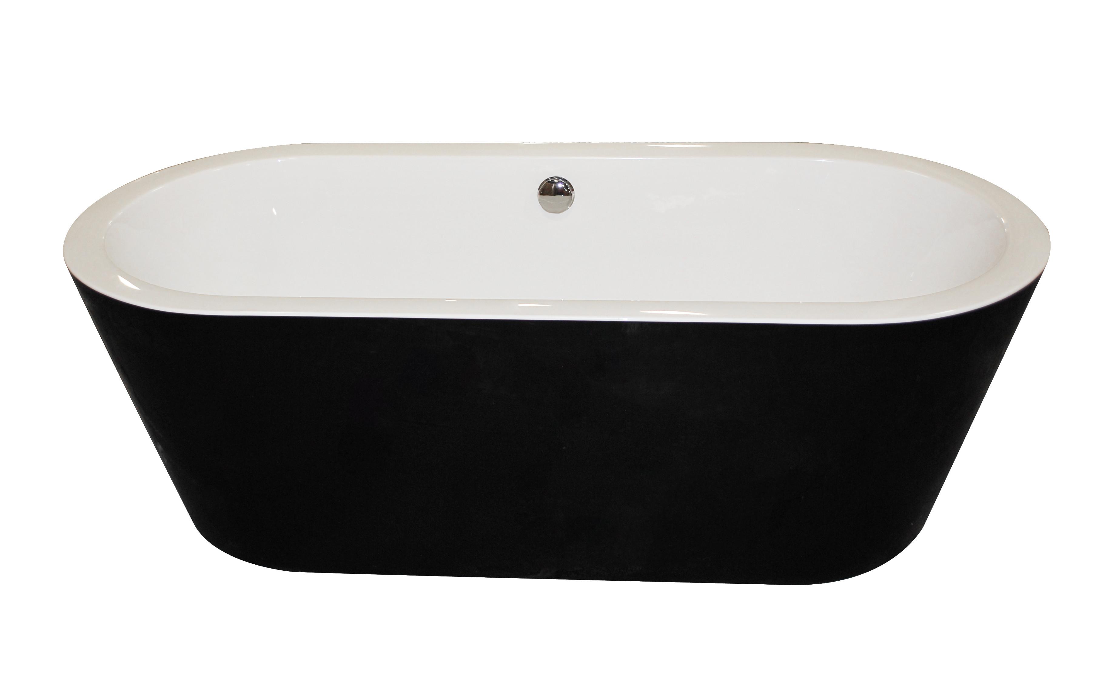 Anzzi FT-AZ011 Dualita Center Drain Freestanding Bathtub in Glossy Black