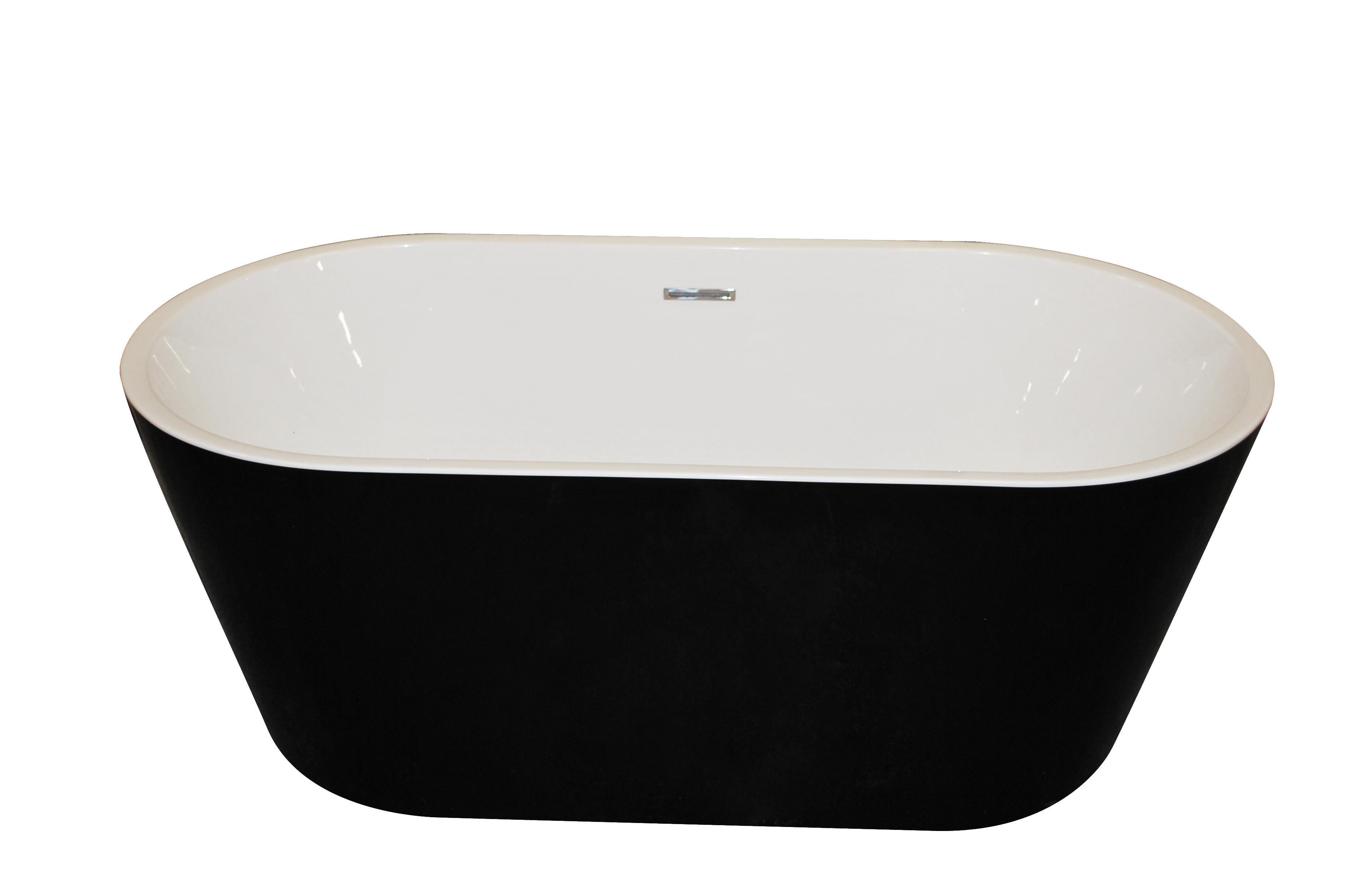 Anzzi FT-AZ012 Dualita Center Drain Freestanding Bathtub in Glossy Black
