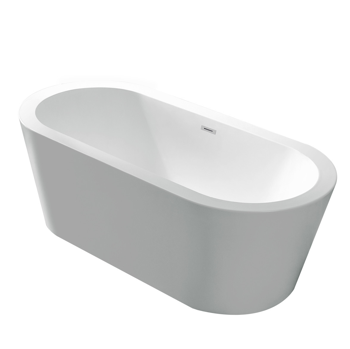Anzzi FT-AZ104 Ares 5.5 ft. Center Drain Freestanding Bathtub Glossy White