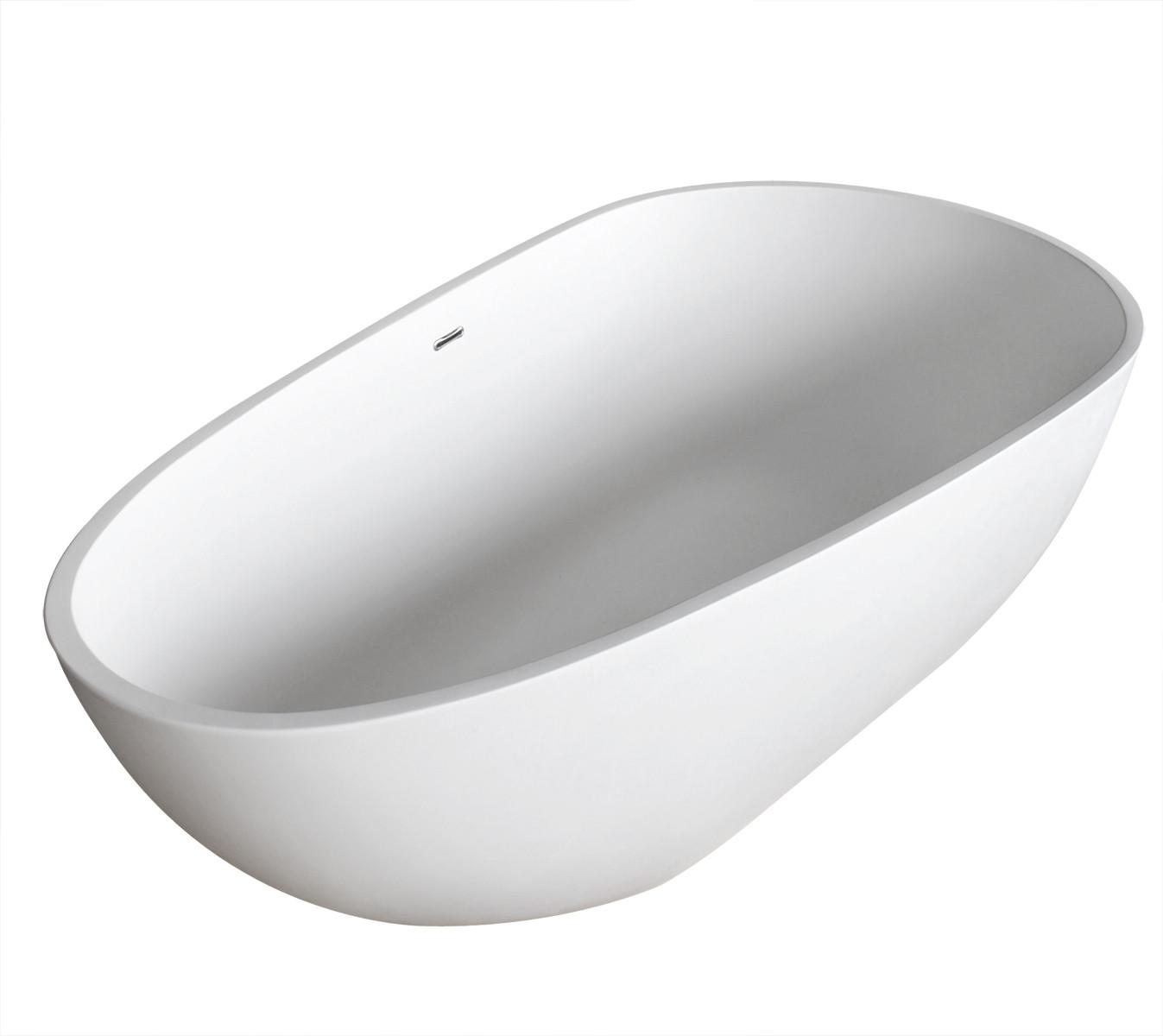 Fiume Man-Made Stone Freestanding Bathtub in Matte White