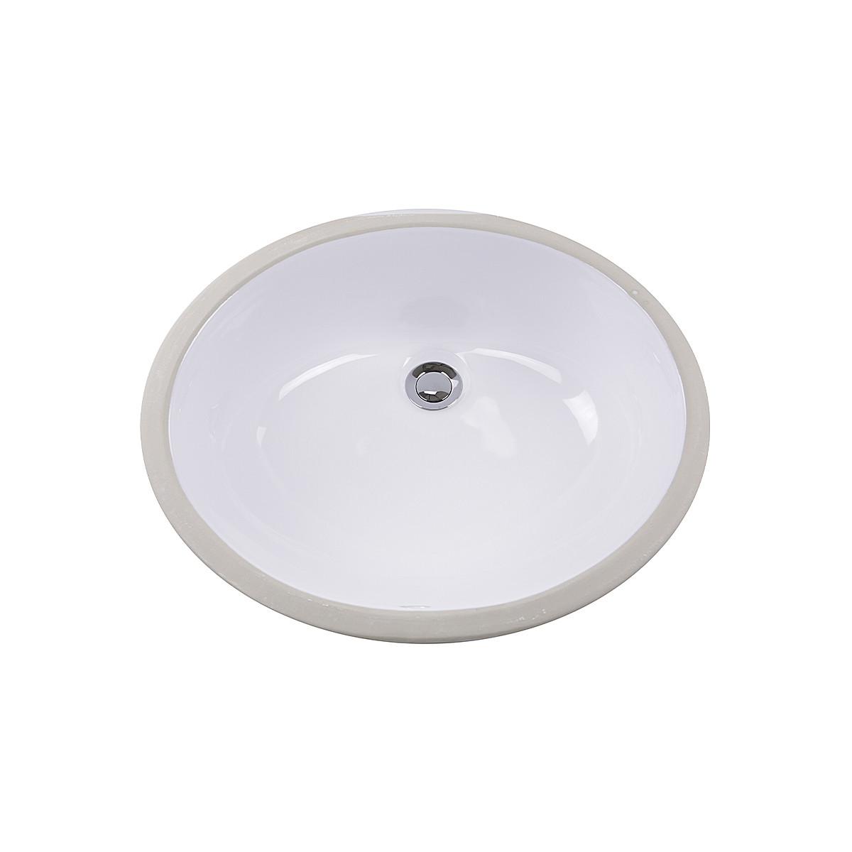 Nantucket Sinks GB-15x12-W Glazed Bottom Undermount Oval Ceramic Sink In White
