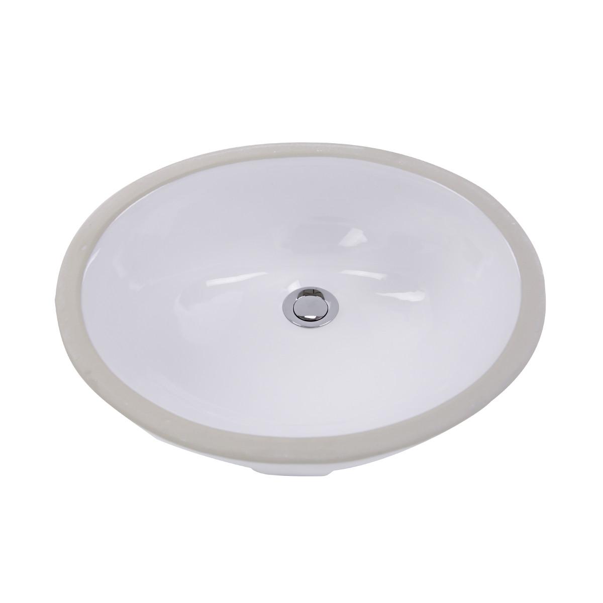 Nantucket Sinks GB-17x14-W Glazed Bottom Undermount Ceramic Sink In Whit