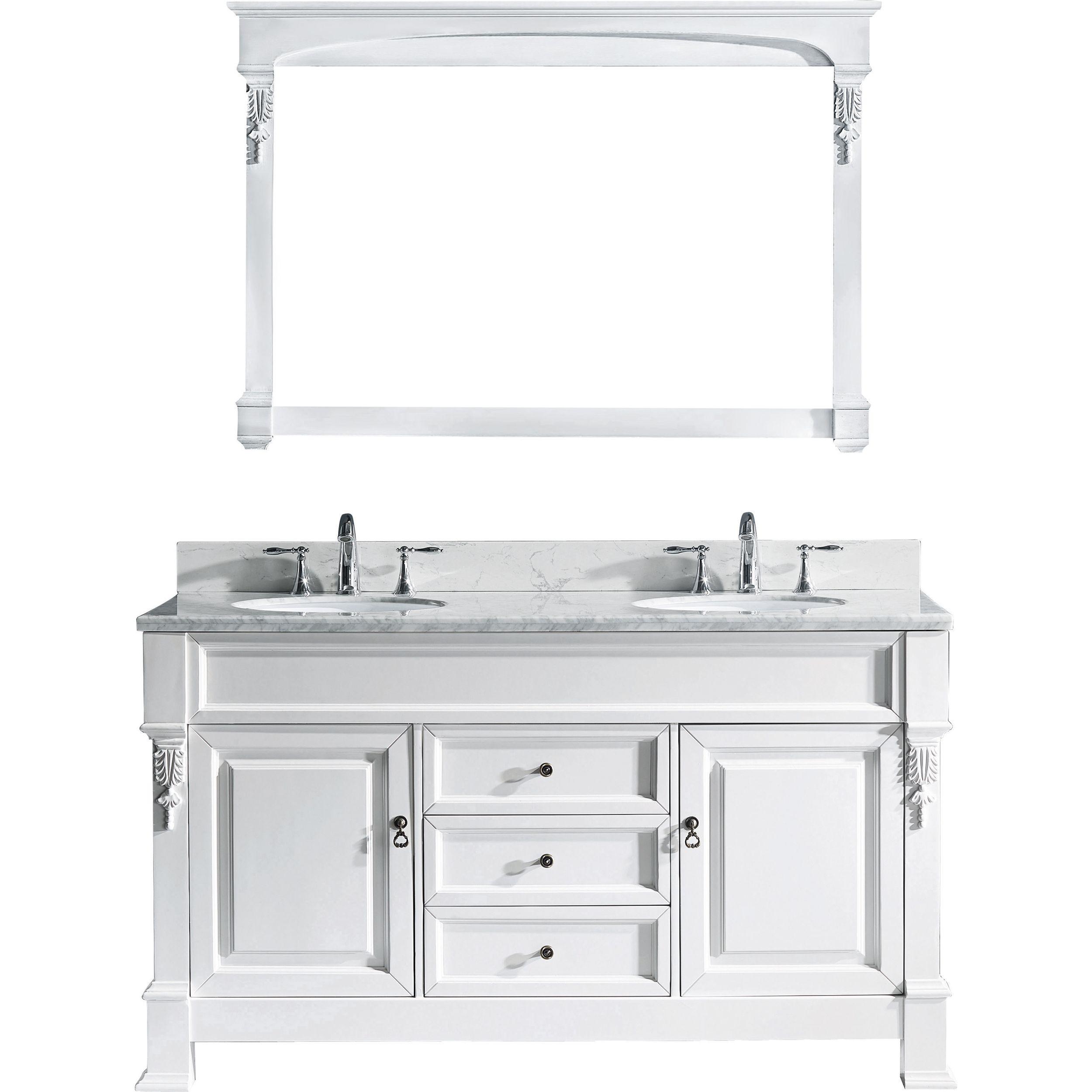 Virtu GD-4060-WMRO-WH Huntshire 60 Inch Double Bathroom Vanity Set In White