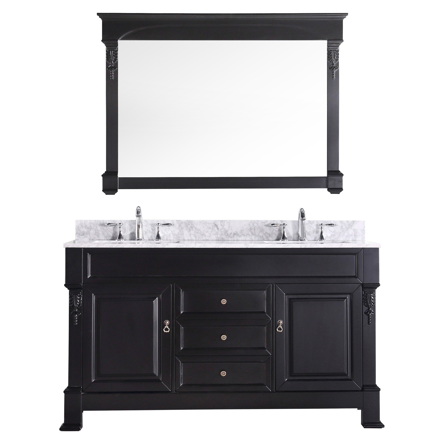 Virtu GD-4060-WMSQ-DW-001 Huntshire 60 Inch Double Bathroom Vanity Set In Dark Walnut