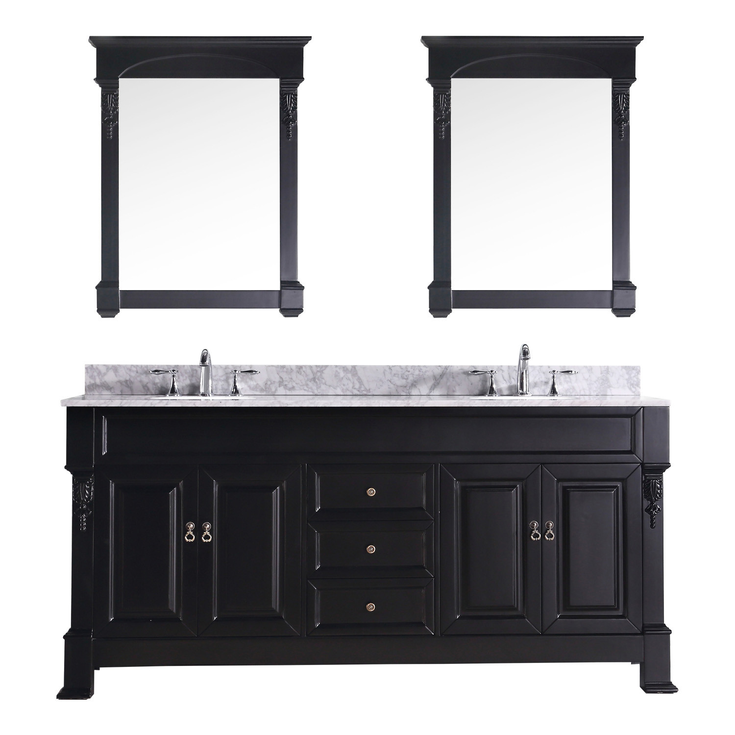 Virtu GD-4072-WMRO-DW-002 Huntshire 72 Inch Double Bathroom Vanity Set In Dark Walnut