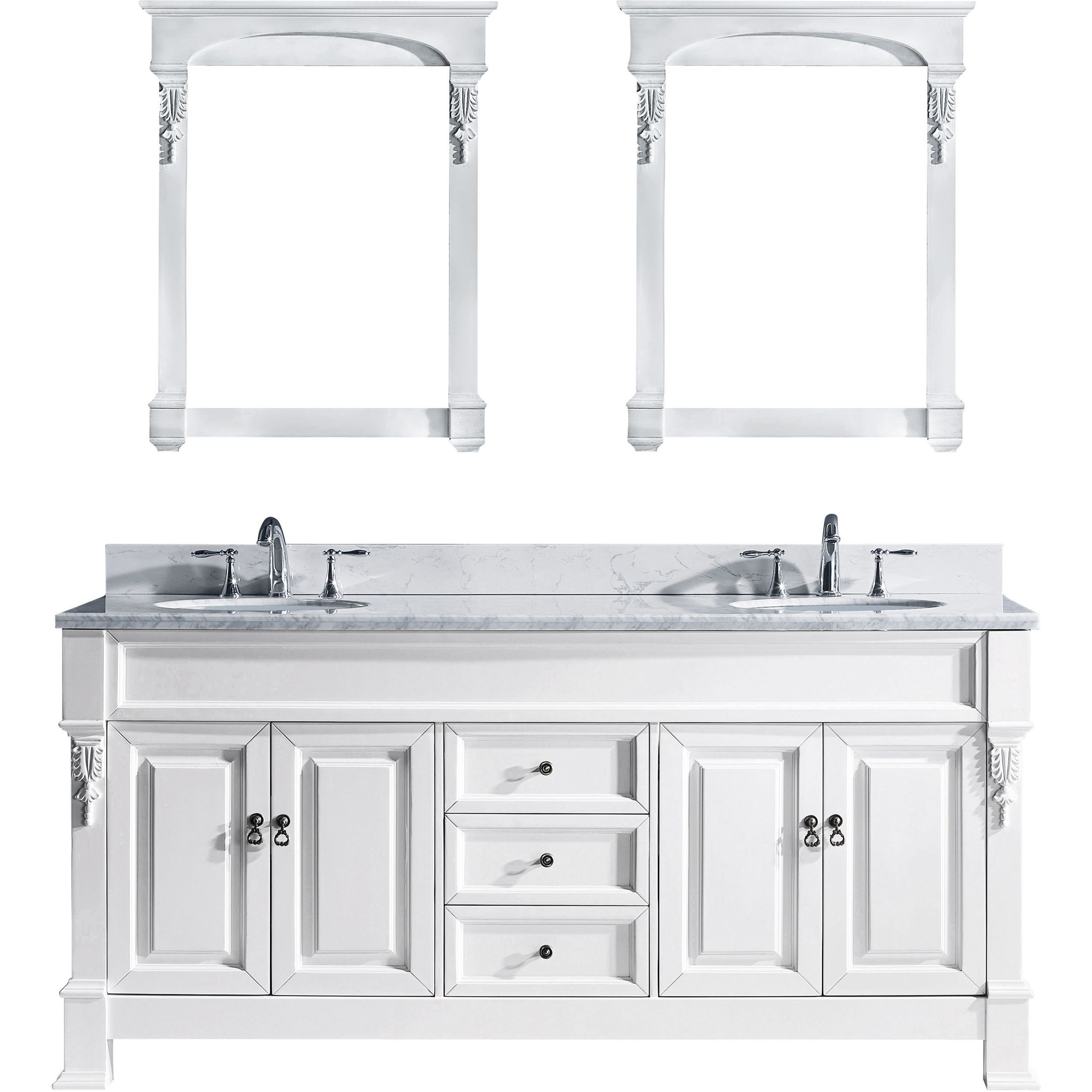 Virtu GD-4072-WMRO-WH Huntshire 72 Inch Double Bathroom Vanity Set In White