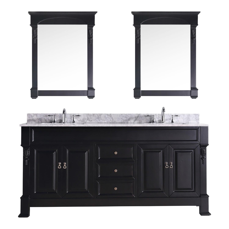 """Virtu USA GD-4072-WMSQ-DW 72"""" Huntshire Double Sink Vanity in Dark Walnut"""