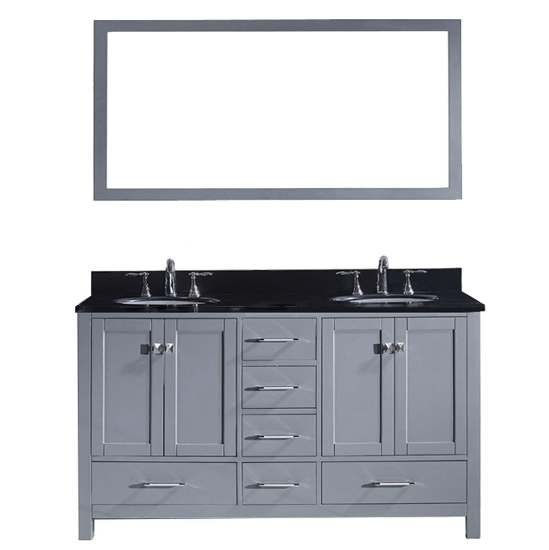 Virtu GD-50060-BGRO-GR Caroline Avenue 60 Inch Double Bathroom Vanity Set In Grey