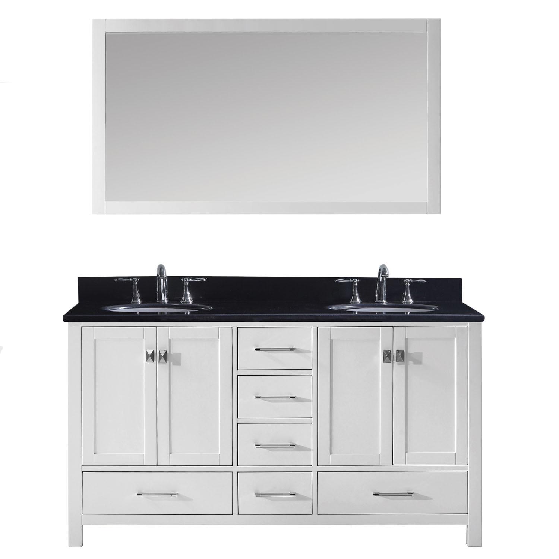 Virtu GD-50060-BGRO-WH-001 Caroline Avenue 60 Inch Double Bathroom Vanity Set In White
