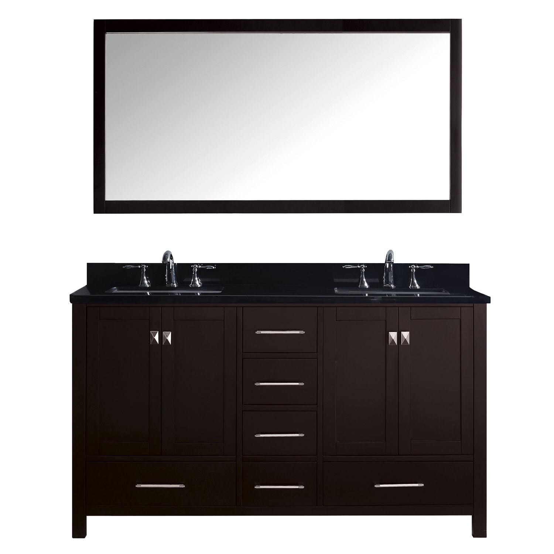 Virtu GD-50060-BGSQ-ES-002 Caroline Avenue 60 Inch Double Bathroom Vanity Set In Espresso