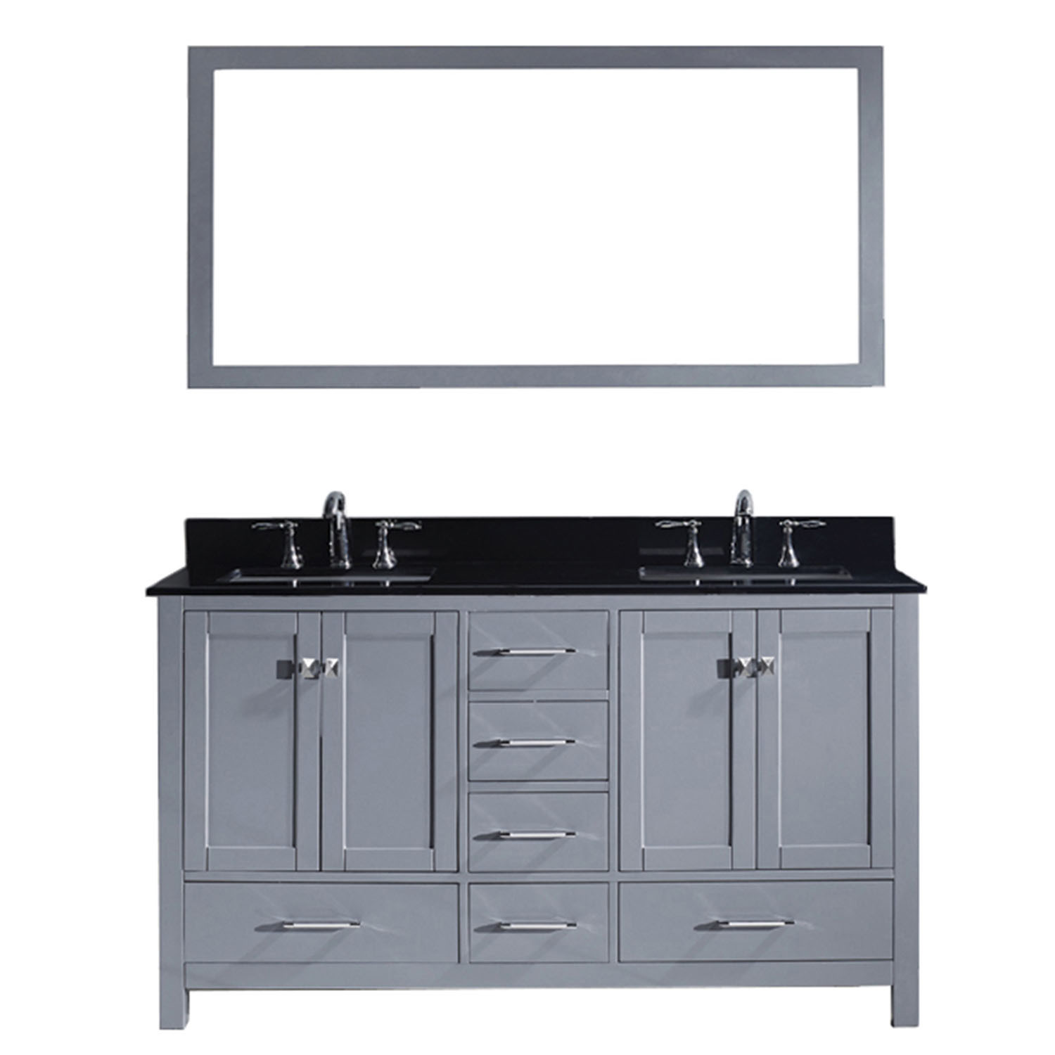 Virtu GD-50060-BGSQ-GR Caroline Avenue 60 Inch Double Bathroom Vanity Set In Grey