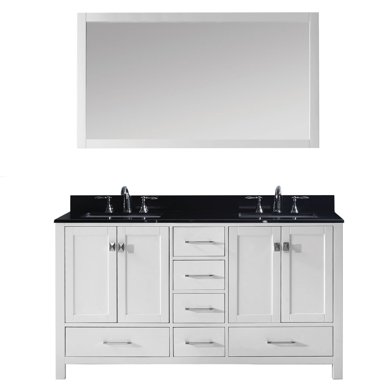 Virtu GD-50060-BGSQ-WH-001 Caroline Avenue 60 Inch Double Bathroom Vanity Set In White