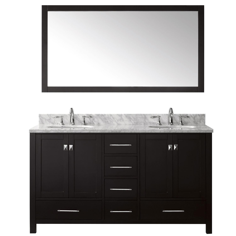 Virtu GD-50060-GQRO-ES-001 Caroline Avenue 60 Inch Double Bathroom Vanity Set In Espresso (Image shown with Marble Top)