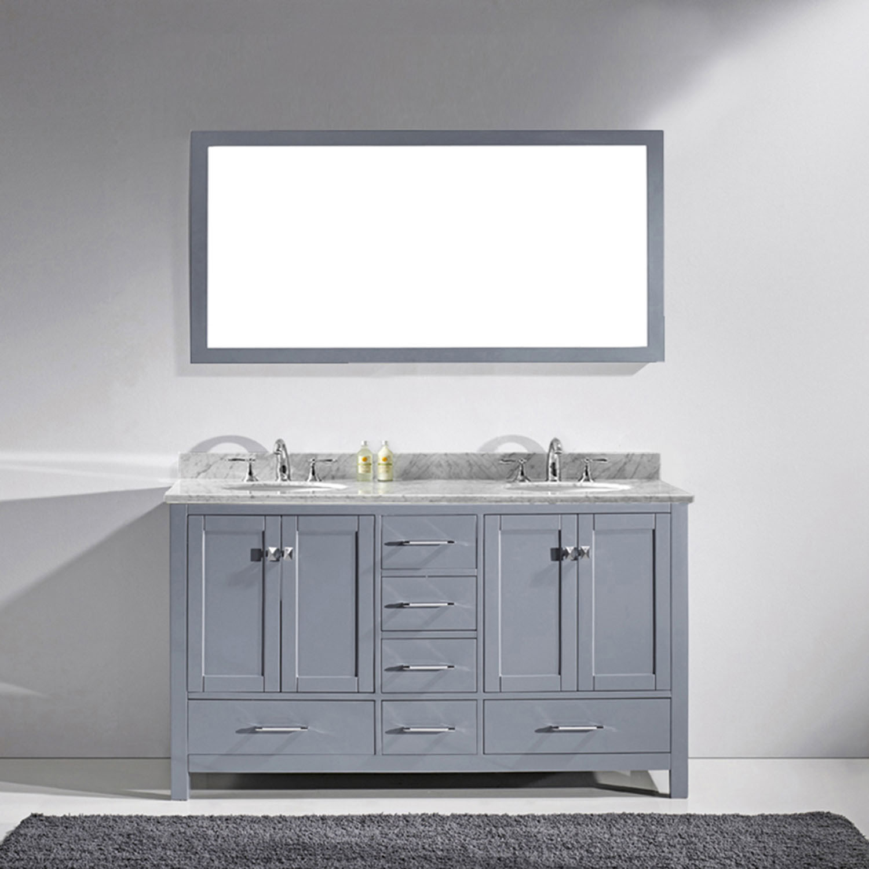 Virtu GD-50060-GQRO-GR-002 Caroline Avenue 60 Inch Double Bathroom Vanity Set In Grey (Image shown with Marble Top)