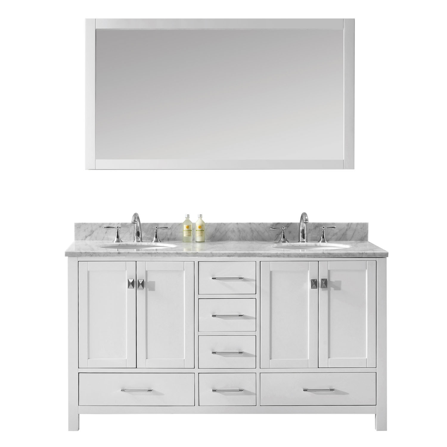 Virtu GD-50060-GQRO-WH Caroline Avenue 60 Inch Double Bathroom Vanity Set In White (Image shown with Marble Top)