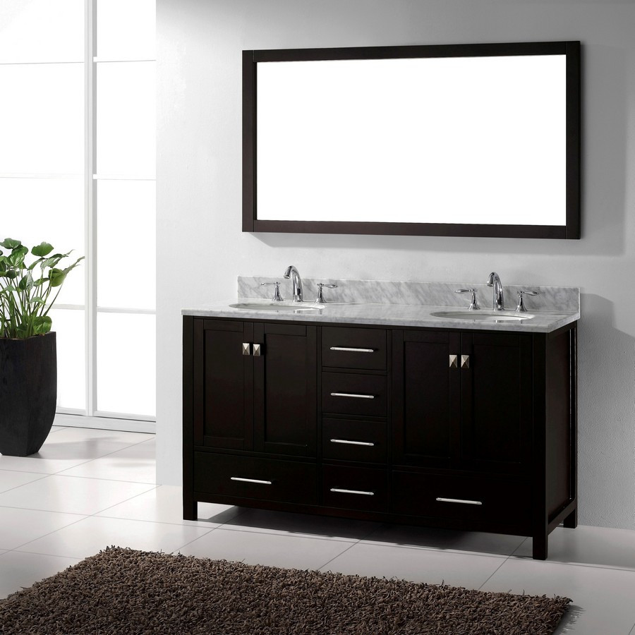 Virtu GD-50060-WMRO-ES-001 Dual Round Sink Bathroom Vanity in Espresso