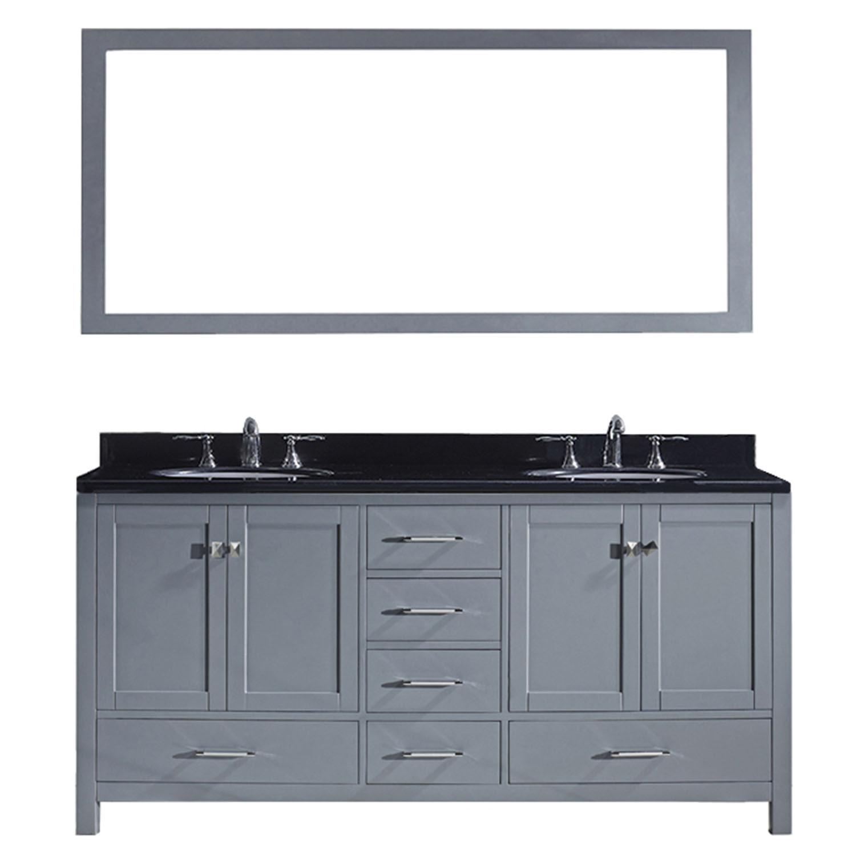 Virtu GD-50072-BGRO-GR Caroline Avenue 72 Inch Double Bathroom Vanity Set In Grey