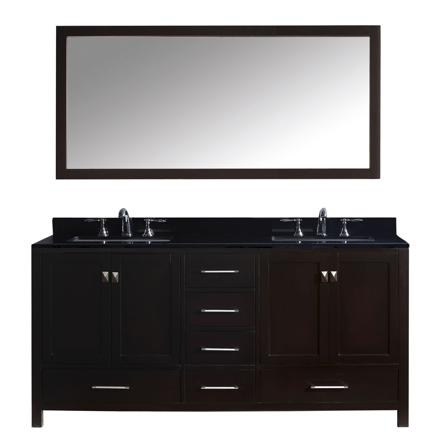 Virtu GD-50072-BGSQ-ES Caroline Avenue 72 Inch Double Bathroom Vanity Set In Espresso