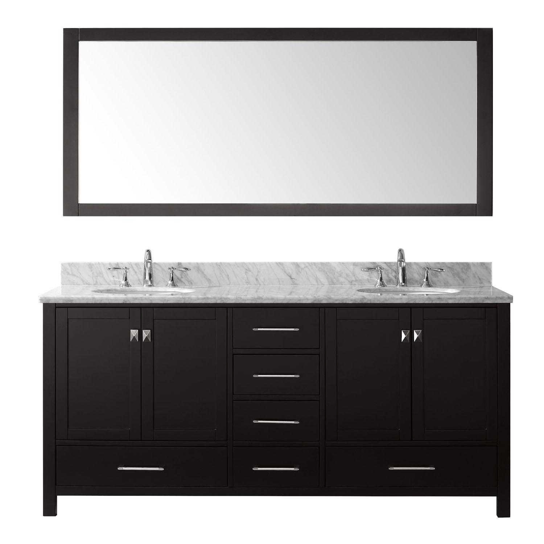 Virtu GD-50072-GQRO-ES Caroline Avenue 72 Inch Double Bathroom Vanity Set In Espresso (Image shown with Marble Top)