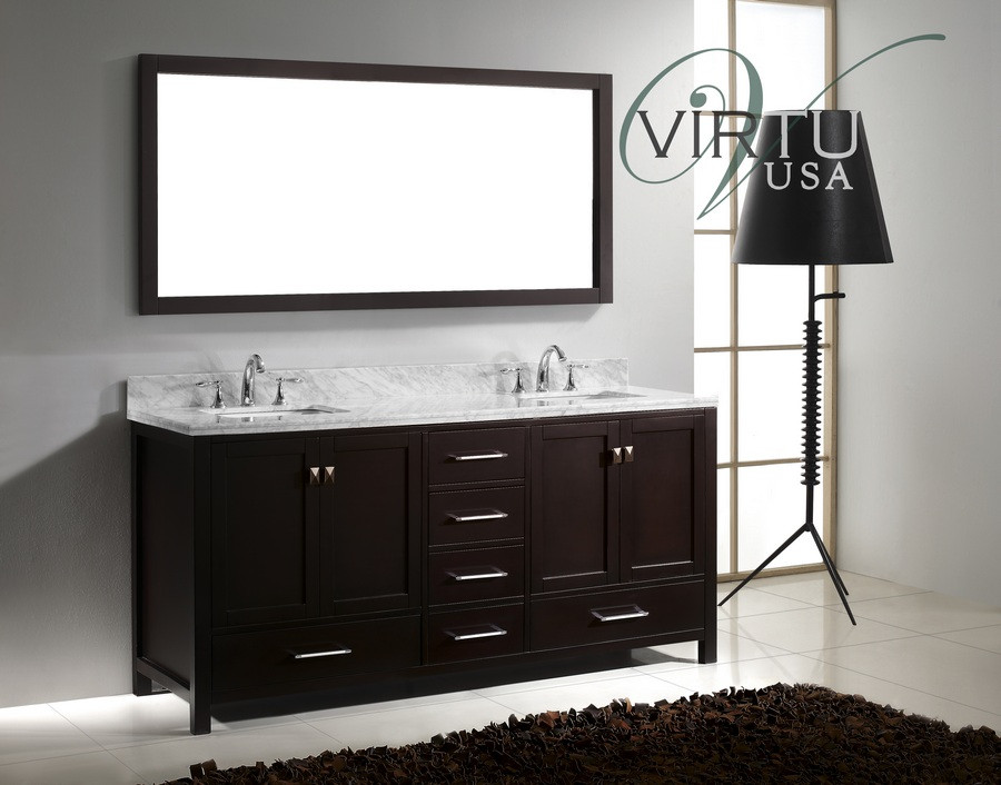"Virtu USA GD-50072-WMSQ-ES 72"" Caroline Avenue Bathroom Vanity in Espresso"