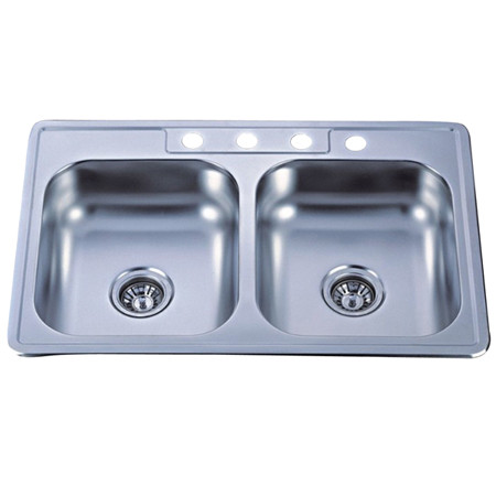 Gourmetier GKTD33227MR Self-Rimming Double Bowl Kitchen Sink in Mirror
